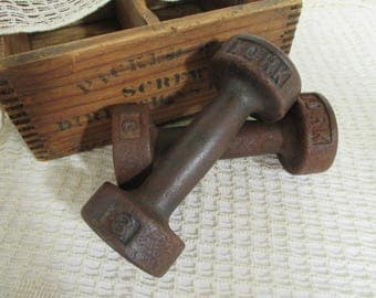 Vintage York Cast Iron Dumbells - Hand Weights - Three Pound Weights - Industrial Decor - Exercise Fitness Room