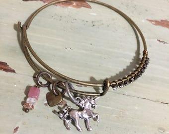 Unicorn Mixed Metal Charm Bangle with Rhinestones   Assemblage jewelry