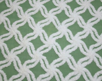 Fluffy Green and White Star Lattice Hofmann Vintage Chenille Bedspread Fabric - 24 x 18 Inches