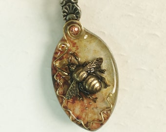Resin Spoon Necklace, Steampunk Bee Pendant, Mixed Media Jewelry