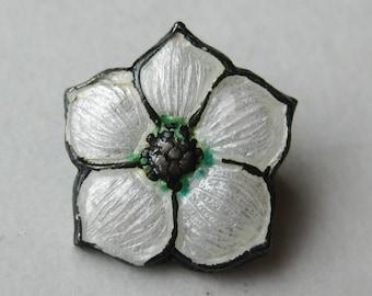 Vintage Art Nouveau Sterling Silver Guilloche Enamel Pansy Flower Mini Brooch Pin