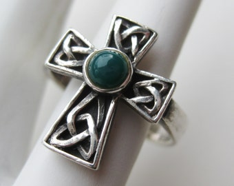 Vintage Irish Celtic Cross Fine Sterling Silver Ring size 8.5