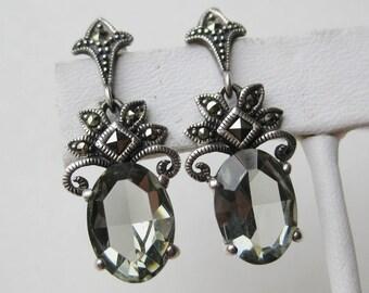 Vintage Jeweled Sterling Silver Art Deco Style Gemstone Marcasite Drop Dangle Pierced Earrings