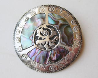 Vintage 40s Taxco Mexican Sterling Silver Abalone Brooch Pin Necklace Pendant