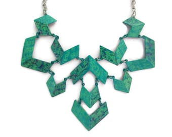 green geometric bib necklace, choker metal chain, verdigris patina painted, metal necklace, unique statement, one of a kind