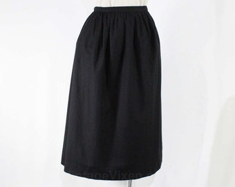 Size 8 Christian Dior Skirt - Classic Black Cotton Skirt With Pockets - A-Line Silhouette - 1980s 1990s Designer Label - Waist 27 - 47596