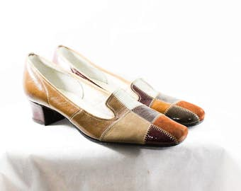 Size 7 Brown & Gray Shoes - Mod 1960s Patchwork Leather Pumps - Unworn 7 Narrow Shoe - Chestnut Tan Stitched Patches - 60s Deadstock - 48174