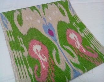 Uzbek traditional handwoven green silk ikat by meter. F047