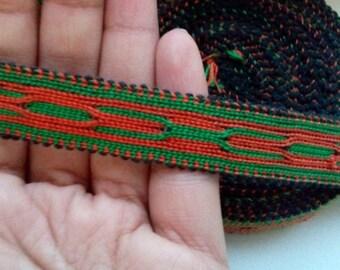 Uzbek handwoven green-orange cotton trim Jiyak. Tribal ethnic, boho, hippy trim. TR036