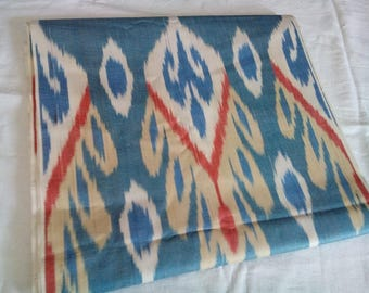 Uzbek traditional woven cotton ikat fabric by meter. F011