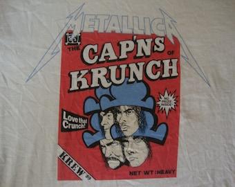 METALLICA Vintage 80's Tour Concert 1989 Captains Of Krunch PUSHEAD Fan Club T Shirt XL