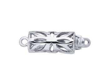 Sterling Silver Filigree Barrel Safety Clasp