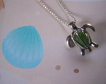 Turtle Cage Pendant with Genuine Sea Glass Adult Child