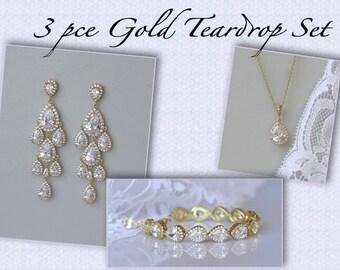 Gold Teardrop Bridal Set, Gold Bridal Jewelry Set, Chandelier Earrings Set, Clip On Option, TAMARA RG Set