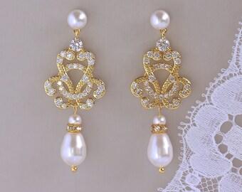 Gold Vintage Crystal Earrings, Pearl Bridal Chandelier Earrings, Pearl Stud Earrings,  CELINE Pearl Post