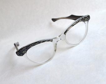 1950s Black & gold glitter spectacle frames / 50s tinsel sparkly cat eye glasses