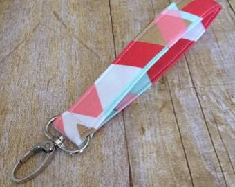 Wristlet Keyfob / Fabric Keychain  / Swivel Clip Key fob - Pink, Coral, Mint and Gold Geometric Print