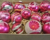 Vintage Christmas Mercury Glass Ornaments, Vintage Pink Glass Christmas Balls
