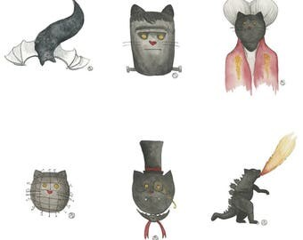 Limited edition kitty monster prints