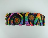 Crazy Stripe Large Barrette in Black and Rainbow Polymer Clay