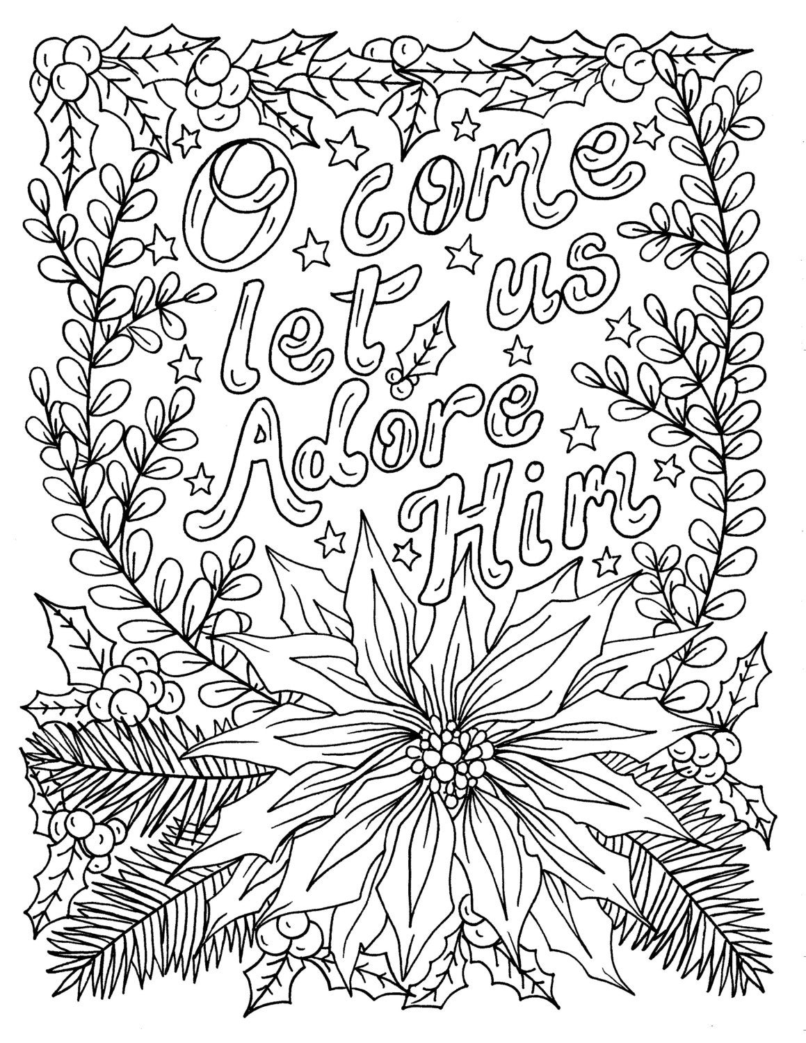 Christian Christmas Coloring Page Adult Coloring Books Art