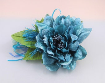 Millinery Flower/leaves/tassel bundle - Turquoise