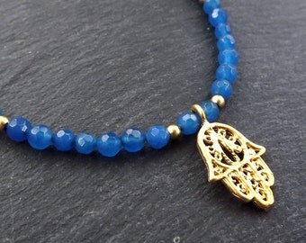 Hamsa Hand of Fatima Layer Necklace Blue Jade Stone Gemstone Hippie Bohemian Artisan - FREE SHIPPING