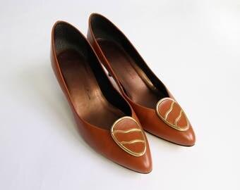VINTAGE Burnt Orange Heels 1980s Pumps Leather Size 8.5