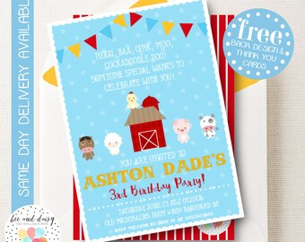 Barnyard Invitation, Barnyard Birthday Invitation, Barnyard Birthday Party, Barnyard Party Invitation, Farm Birthday, BeeAndDaisy