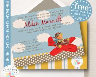 Vintage Airplane Invitation, Airplane Birthday Invitation, Airplane Birthday Party Airplane Party Invitation Boys First Birthday BeeAndDaisy