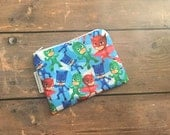 Small Cosmetic Bag/ Pouch -  Coin Pouch - Stocking Stuffer - PJ Mask - Small Christmas Gift - Lunch Money Pouch