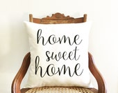 home sweet home pillow cover, farmhouse, personalized pillow cover, quote pillow, words on pillow, typography pillow cover