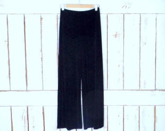 90s vintage black wide leg palazzo ribbed stretch pants/yoga style lounge pants/Chicos travelers/small/medium
