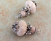 SALE Brand new earthy Style Dangle Drop Carved synthetic coral bone glass colored Pendants 2 pcs.
