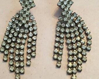 Vintage Chandelier Silver Tone Clear Rhinestones Earrings Faceted For Pierced Ears Bride Bridal Something Old
