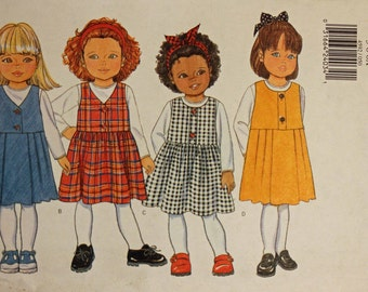 Girls Size 5 6 & 6X Butterick 4592 Jumper Dress and Top Kids Child Children Sewing Pattern Sew Uncut