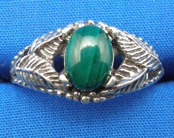 Malachite Leaf design ring, Hand Crafted Recycled Sterling Silver, Capricorn, handmade European Beech Tree leaves