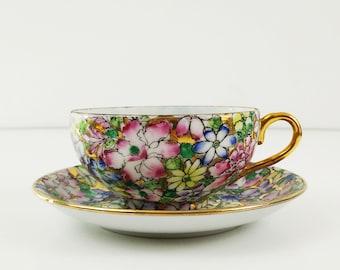Vintage A.C.F. Teacup & Saucer Japanese Porcelain Ware Gilt Floral