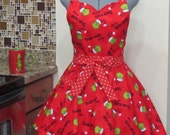 Grinchmas Apron on Red