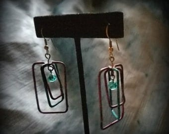 Teal and Purple Concentric Rectangle Earrings