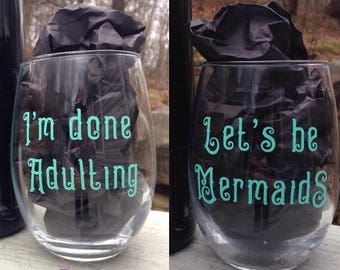 Let's Be Mermaids Stemless Wine Glass, Cute Wine Glasses, Wine Glasses, Funny Wine Glasses, Gifts for her, Witty Wine Glass