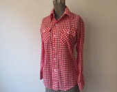 Vintage JC Penney Plain Pockets Red & White Gingham Super Thin Western Shirt, Small