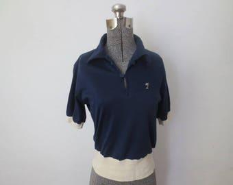 Vintage '70s Sears Put-On Shop Palm Tree Embroidered, 2-Tone Polo, Small / Medium