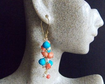 25% Off Spring Sale Turquoise Coral and Freshwater Pearl Gemstone Cluster Dangle Earrings