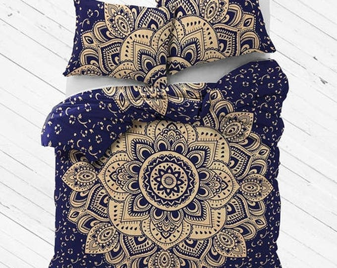 Navy and Gold Mandala Duvet Cover or Flat Sheet Set with Matching Pillow Cases Hippie Boho Bedding College Bedding Gypsy Bedding