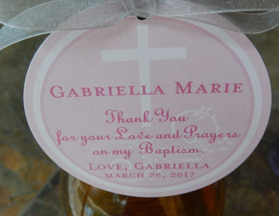 """3"""" Custom Baptism or First Communion Thank You Favor Tags - For Wine Bottles - Favor Boxes - Party Favors - (30) love and prayers tags"""