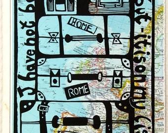 linocut, Atlas page, traveller, map, inspirational art, vintage paper, world, Susan Sontag, suitcases, bags, Europe, England, France, Spain