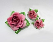 Pink Rose Bone China Brooch & Earrings - Screwbacks Made in England - 60s-70s