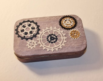 Altered Altoid Tin with gear accents paper with  letters, script, writing - gift card holder steampunk