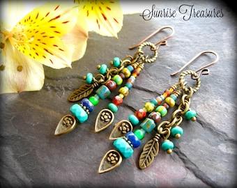 NEW Brass Feather Charm Earrings, Southwest Earrings, Turquoise Earrings, Earthy Seed Bead Earrings, Hippie Earrings, Southwest Jewelry
